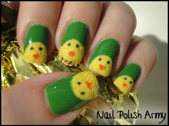 Easter-nail-art-pasqua-chicks-pulcini-flocking-powder-3