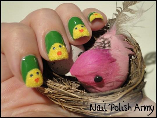 Easter-nail-art-pasqua-chicks-pulcini-flocking-powder