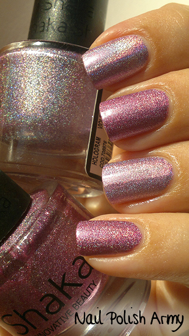 Shaka 03 Hologram Violet 2 versions: 2012 linear and 2013 scattered holo nail polish