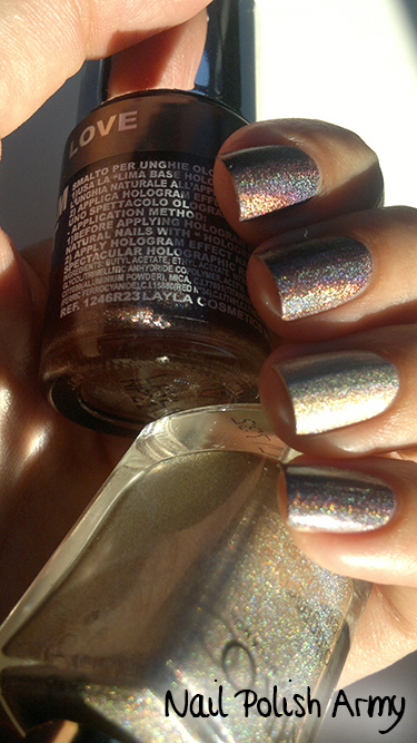 Layla hologram effect 16 Coffee Love, Kiko holographic nail polish 399 brown champagne linear holo smalto marrone