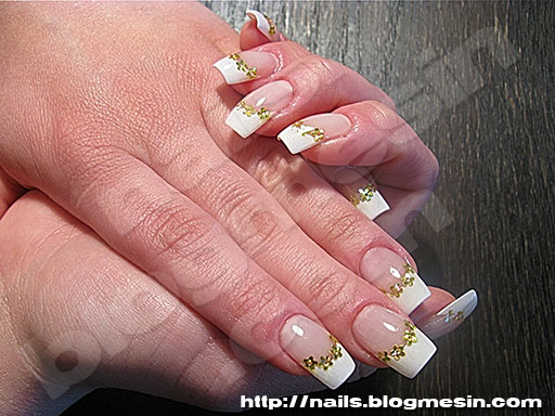 Gel French Nails With Golden Holographic Flowers