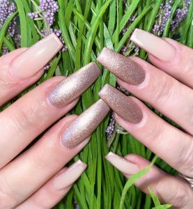 neutral dip nails natural nail colors with glitter