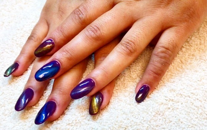 Cat's Eye over Shellac; products by CND and Bumblebee