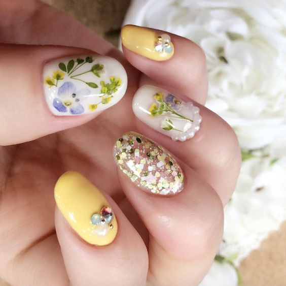 12colors 3d Nail Real Dried Flower Art Decoration Manicure Acrylic Uv Gel Stickers