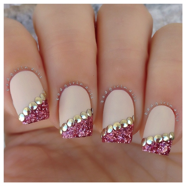 Glitter Injection Nails Nail Art Fan Brush Studs Stud