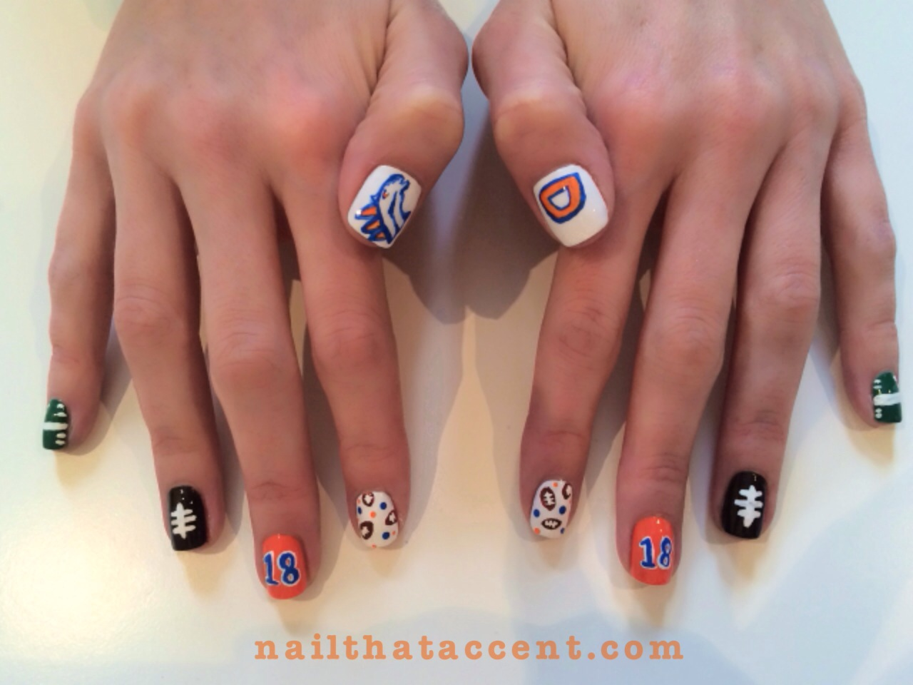 Denver broncos toe nail art nail art ideas nfl broncos nail designs best nails 2018 prinsesfo Gallery