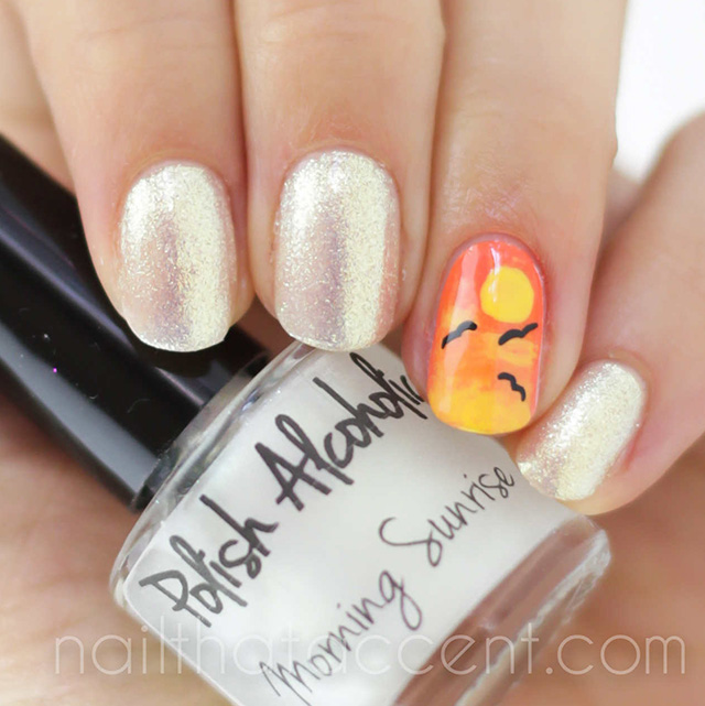 Morning Sunrise Gold Nails Sunset Sun Nail Art