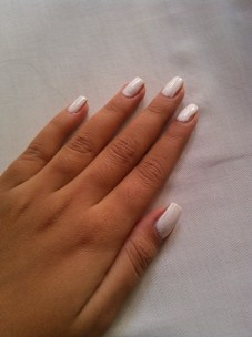 Step 1: Apply your favorite base coat and a solid white on your nails. Let them dry completely.