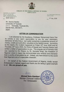 Presidency Commend Nigerian Man Who Found a Wallet With Huge Sum in Japan And Returned It