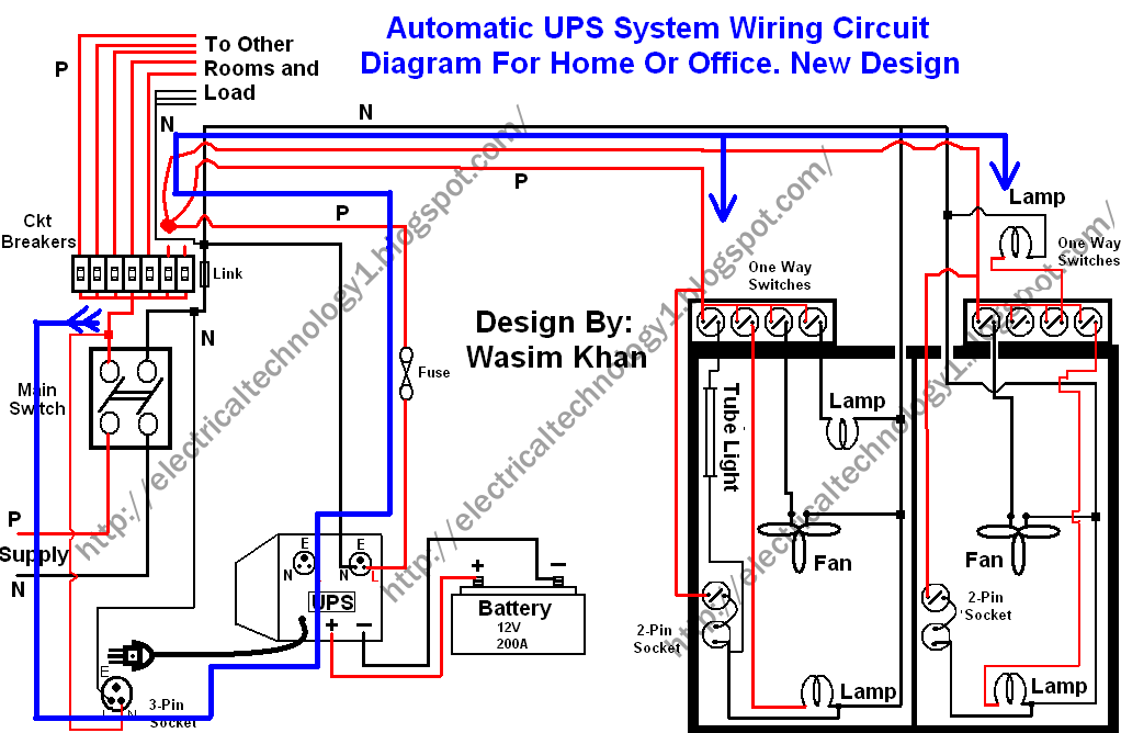 Wiring Circuit Diagram For Inverter, Grid And Generator