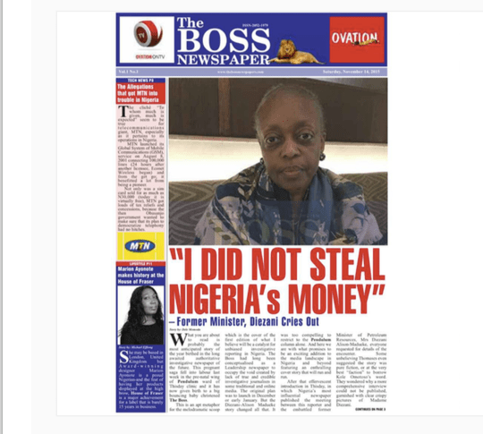 Diezani on the cover of Mr Momodu's new magazine