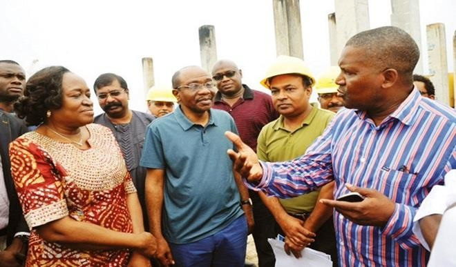Emefiele visiting one of Dangote's businesses.