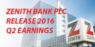 Zenith Bank Plc Release 2016 Quater two Earnings