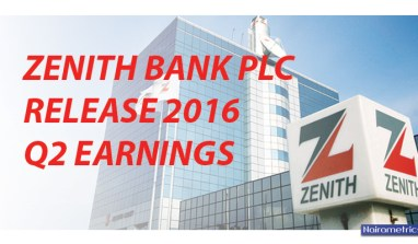 Alert: Zenith Bank Plc Release 2016 Quater two Earnings