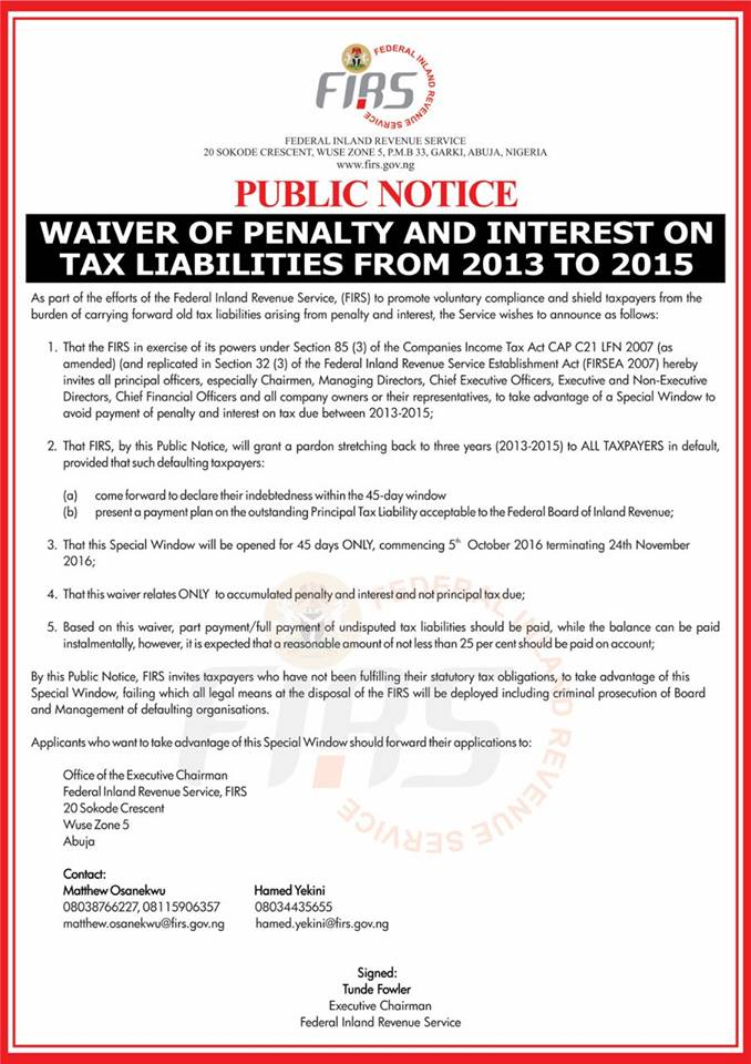 FIRS - Waiver of Penalty and Interest Source: FIRS