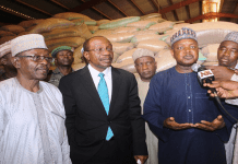 Emefiele visiting a rice storage facility.