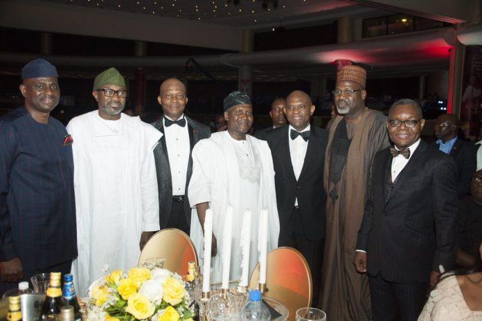 L-R: CEO, Airtel Nigeria, Mr Segun Ogunsanya; Chairman, Forte Oil Plc, Mr Femi Otedola; GMD/CEO, UBA Plc, Mr Kennedy Uzoka; President, Dangote Industries, Alhaji Aliko Dangote; Group Chairman, UBA Plc, Mr. Tony Elumelu; Deputy Managing Director, Total E&P Nigeria, Alhaji Ahmadu-Kida Musa; and Group Deputy Managing Director, UBA Plc, Mr. Victor Osadolor, at the 2018 UBA CEO Awards