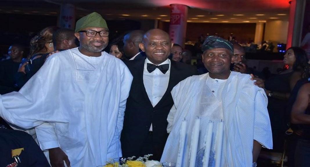 L-R: Chairman, Forte Oil Plc, Mr Femi Otedola; Chairman, UBA Plc, Mr. Tony Elumelu; and President, Dangote Industries, Alhaji Aliko Dangote, at the 2018 UBA CEO Awards.