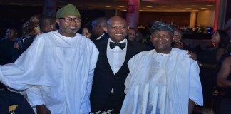 L-R: Chairman, Forte Oil Plc, Mr Femi Otedola; Chairman, UBA Plc, Mr. Tony Elumelu; and President, Dangote Industries, Alhaji Aliko Dangote, at the 2018 UBA CEO Awards.