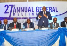 C and I Leasing Plc senior management during the company's 27th AGM