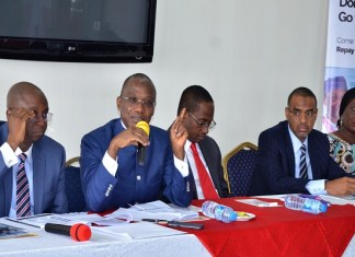 L-R: Mr. Olugbenga Ataiyero, Chief Finance Officer, Asset Management Corporation of Nigeria (AMCON); Mr. Ahmed Kuru, Managing Director, Chief Executive Officer; Mr. Aminu Ismail, Executive Director Operations, Mr. Tajudeen Ahmed, Head, Real Estate and Construction and Mrs. Iyatum Victoria Adode-Kobiti, Group Head, Corporate Services when AMCON released its Audited 2017 Financials in Lagos…at the weekend