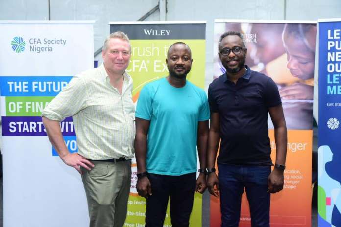 Paul Smith, CFA Society Worldwide President, Banji Fehintola, CFA Society Nigeria President, Ugodre of Nairametrics.
