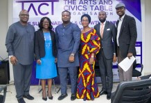 L-R: Adedeji Adebisi (Deputy Director, Development Finance, Central Bank of Nigeria), Yemi Adesanya (Co-Founder, TACT), Amechi Akwari (SME Funds Department, Bank of Industry), Nneka Okekearu (Deputy Director, Enterprise Development Centre), Charles Anyanwu (Head, SME, Lagos State Employment Trust Fund), Yemi Ajala (Journalist, Writer, Conference Compere)