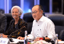 L-R: IMF MD, Christine Lagarde and Jim Kim, the World Bank president