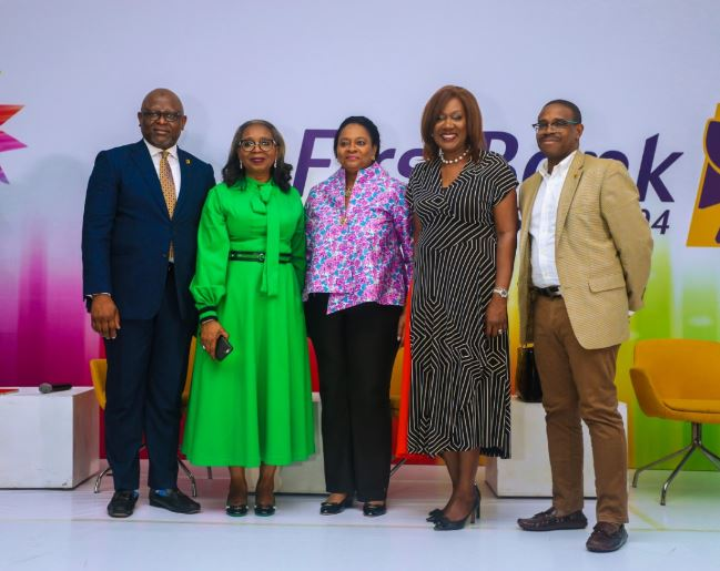 L-R- Managing Director, First Bank of Nigeria Limited and Subsidiaries, Adesola Adeduntan; Chairman, First Bank of Nigeria Limited, Ibukun Awosika; Vice-President/Treasurer, World Bank, Arunma Oteh; CEO, Bestman Games, Nimi Akinkugbe and Deputy Managing Director, First Bank of Nigeria Limited, Francis Shobo at the second anniversary of FirstGem, the FirstBank product designed to promote female entrepreneurship and independence, held in Lagos recently.