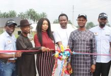 L-R: Leste Aihevba, Managing Director, Energia; George Osahon, Chairman, Board of Directors, Energia; Adaeze Moedo, Representative of Zonal Controller, Department of Petroleum Resources; Friday Ozobeme, President General, Emu Ebendo Community; Freeman Fregene, Commissioner for Oil and Gas, Delta State; and Kofo Tunji- Olagunju, General Manager, External Relations, Oando Energy Resources, during the commissioning of the Ebendo Community Modern Housing Estate, among other projects by the Energia/Oando Joint Venture in Delta State on Monday, December 3, 2018.