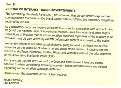 APCON to regulate Social media adverts