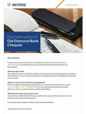 Access Bank will no longer accept cheques bearing the logo of defunct Diamond Bank