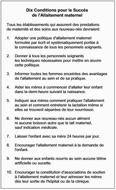 10 conditions succès allaitement