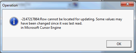 Row cannot be located for updating vb6