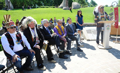 Indigenous leaders and Mayor Bowman