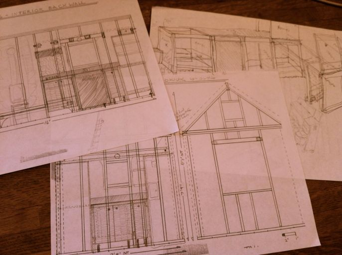 Designing my cabinets and kitchen. I went back to paper and pencil for this, rather than SketchUp. It felt right.