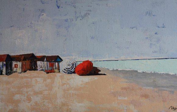 Cabines de plage et parasols. Acryl+Médium. Toile lin.92X73. Vendue