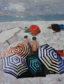 Les parasols de l'été. Acryl. Carton encollé. Sous verre. 73X54. Vendue