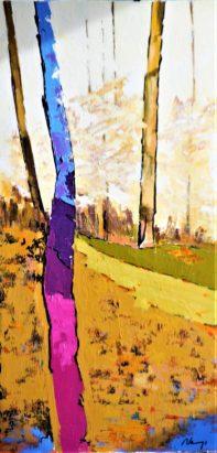 Paysage à l'arbre violine. Acrylique+ médium sur toile lin.80X40