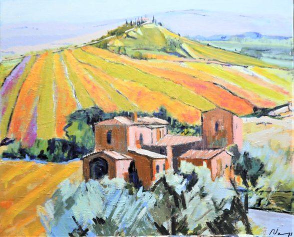 Eternelle Toscane.Acrylique+médium sur toile lin.65X54