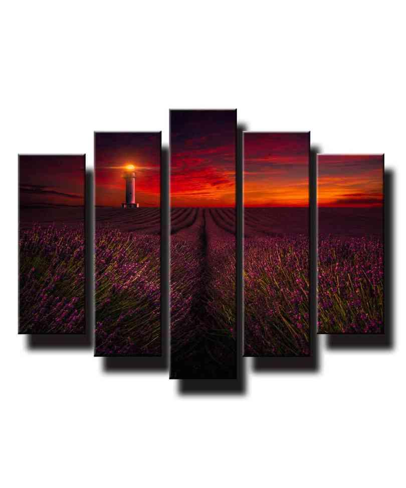 5 dielny obraz na stenu Levandulové pole pri západe slnka