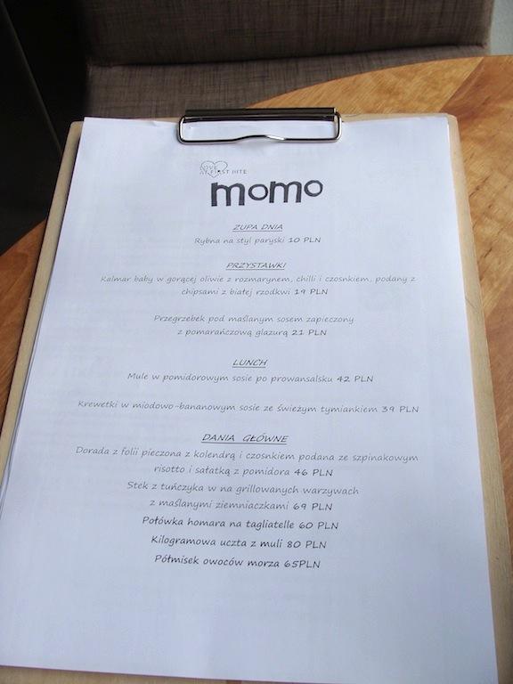 Karta menu - Restauracja Momo, Poznań