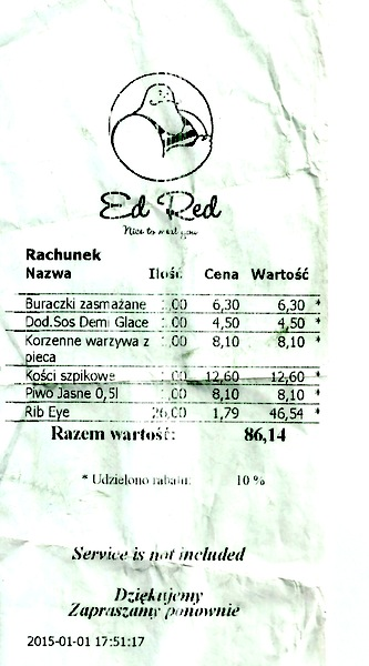 Ed Red Kraków - mój rachunek :)