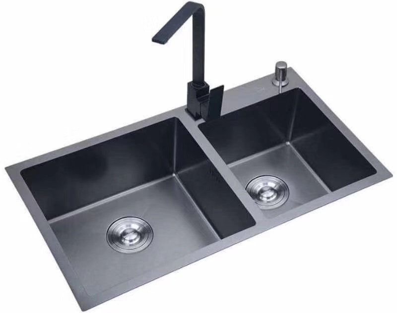 double bowl grey stainless brushed kitchen sink