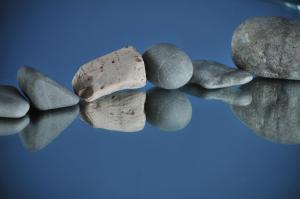 stones on a mirror