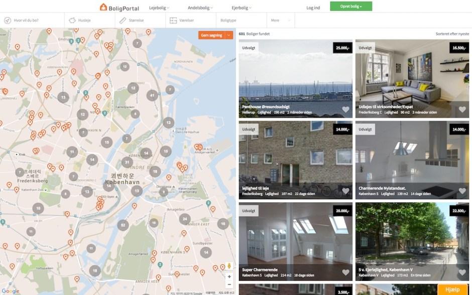 대표 덴마크 부동산 중개 웹사이트 Bolig Portal 화면 갈무리