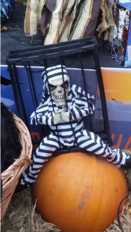A dead person in a cage trying to get out. He is sitting on a pumpkin. Do you wanna take him home?