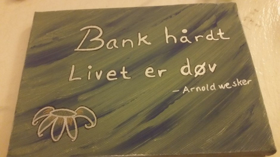 This is a handmade picture with the quote - Knock hard, Life is deaf - Never give up.