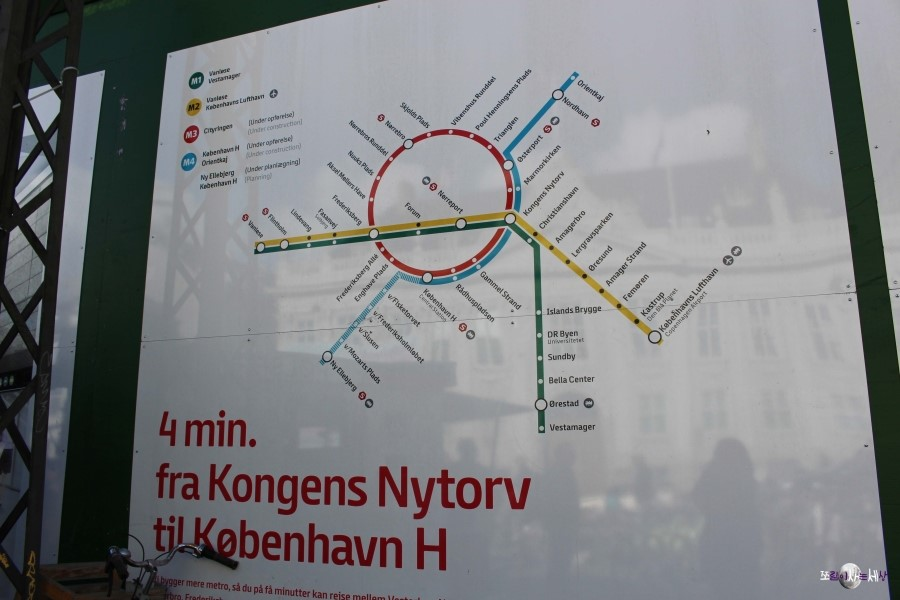 코펜하겐 메트로 노선도. 현재 M3·M4라인은 증설 중이다 (사진: 조혜림)