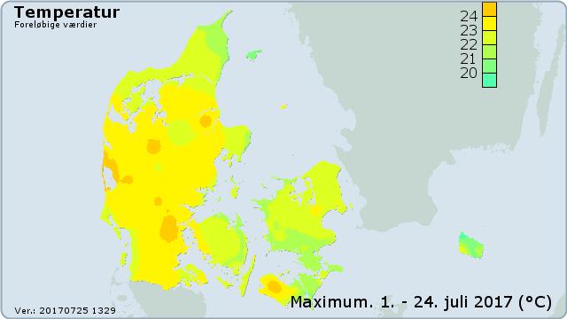 2017년 7월 중 덴마크 최고 기온(덴마크 기상청 제공)